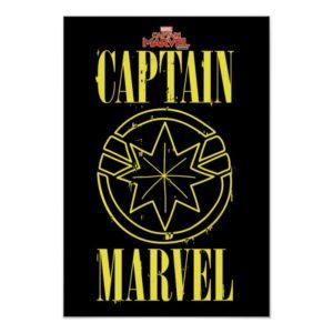 Captain Marvel   Retro Captain Marvel Logo Poster