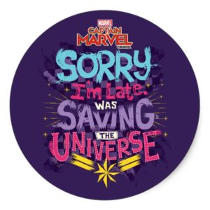 Captain Marvel | Saving The Universe Typography Classic Round Sticker