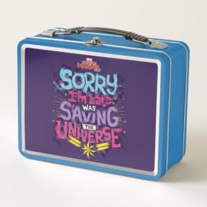 Captain Marvel   Saving The Universe Typography Metal Lunch Box