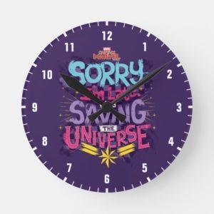 Captain Marvel   Saving The Universe Typography Round Clock