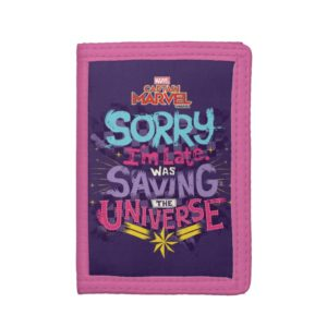Captain Marvel | Saving The Universe Typography Trifold Wallet