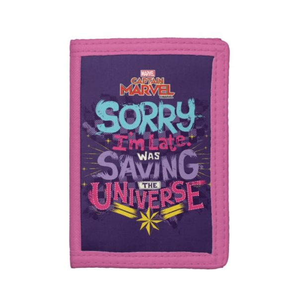 Captain Marvel   Saving The Universe Typography Trifold Wallet