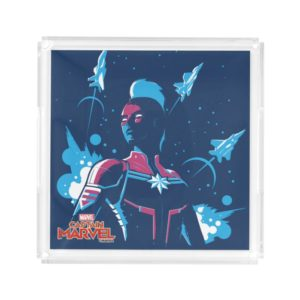Captain Marvel | Silhouette Pose With Jets Acrylic Tray