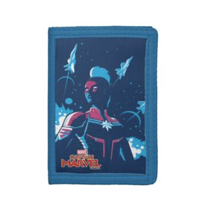 Captain Marvel   Silhouette Pose With Jets Trifold Wallet