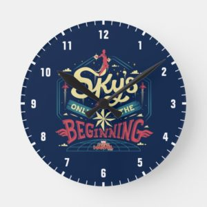 """Captain Marvel   """"Sky's Only The Beginning"""" Type Round Clock"""