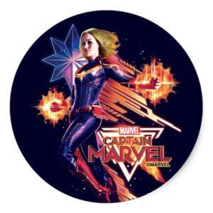 Captain Marvel   Sparkling Light Trail Graphic Classic Round Sticker