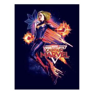 Captain Marvel   Sparkling Light Trail Graphic Postcard