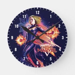 Captain Marvel   Sparkling Light Trail Graphic Round Clock