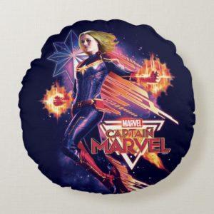 Captain Marvel   Sparkling Light Trail Graphic Round Pillow