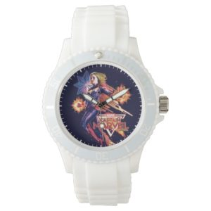 Captain Marvel   Sparkling Light Trail Graphic Watch