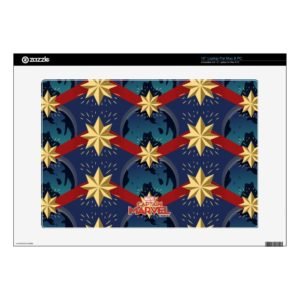 "Captain Marvel | Star Logo Over Planet Pattern 15"" Laptop Decal"