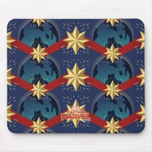 Captain Marvel | Star Logo Over Planet Pattern Mouse Pad