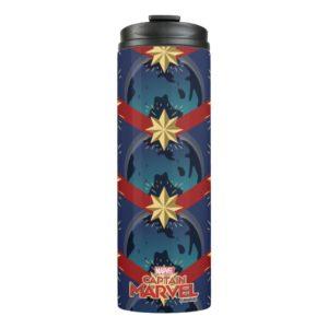 Captain Marvel | Star Logo Over Planet Pattern Thermal Tumbler
