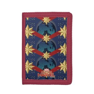 Captain Marvel | Star Logo Over Planet Pattern Trifold Wallet