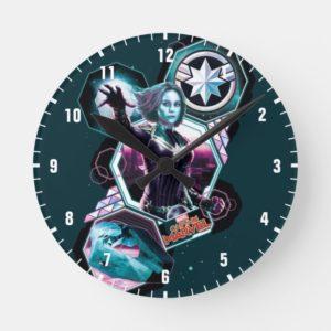 Captain Marvel   Starforce Captain Marvel Graphic Round Clock