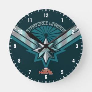 Captain Marvel   Starforce Warrior Star Embelm Round Clock
