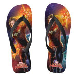 Captain Marvel | Stellar Engery Hand Raised Flip Flops
