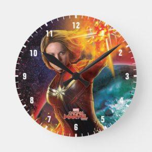 Captain Marvel | Stellar Engery Hand Raised Round Clock