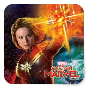 Captain Marvel | Stellar Engery Hand Raised Square Sticker