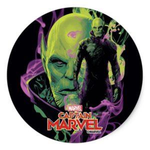 Captain Marvel | Talos Smokey Character Graphic Classic Round Sticker