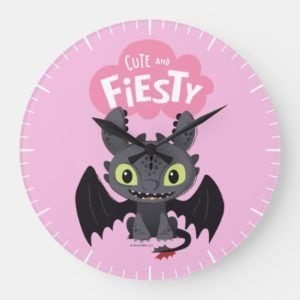 """""""Cute And Fiesty"""" Toothless Graphic Large Clock"""