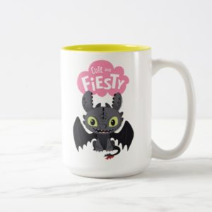 """Cute And Fiesty"" Toothless Graphic Two-Tone Coffee Mug"