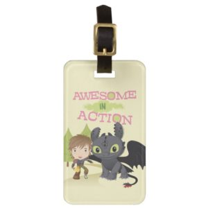 "Cute ""Awesome In Action"" Hiccup & Toothless Bag Tag"