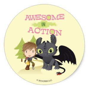 """Cute """"Awesome In Action"""" Hiccup & Toothless Classic Round Sticker"""