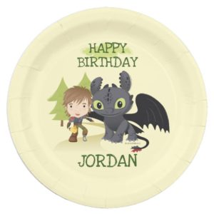 """Cute """"Awesome In Action"""" Hiccup & Toothless Paper Plate"""