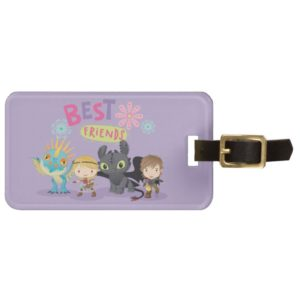 """Cute """"Best Friends"""" Hiccup & Astrid With Dragons Bag Tag"""