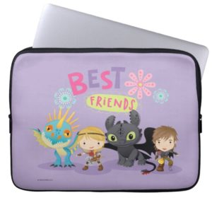"""Cute """"Best Friends"""" Hiccup & Astrid With Dragons Computer Sleeve"""