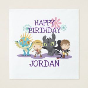 "Cute ""Best Friends"" Hiccup & Astrid With Dragons Napkin"