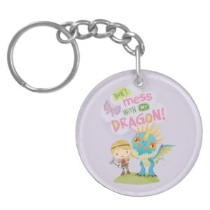 """Cute """"Don't Mess With My Dragon"""" Astrid & Stormfly Keychain"""