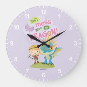 """Cute """"Don't Mess With My Dragon"""" Astrid & Stormfly Large Clock"""
