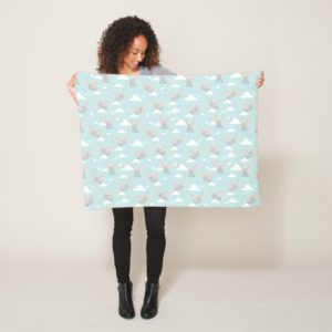 Cute Dumbo Blue Tribal Pattern Fleece Blanket