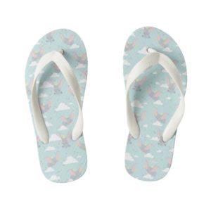 Cute Dumbo Blue Tribal Pattern Kid's Flip Flops