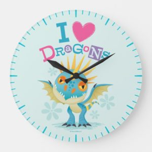 """Cute """"I Love Dragons"""" Stormfly Graphic Large Clock"""