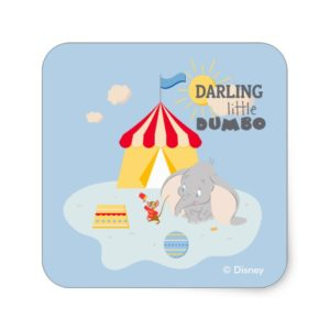Darling Little Dumbo & Timothy Square Sticker