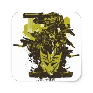 Decepticon Grunge Collage Square Sticker