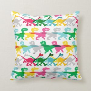Dino Color Pattern Throw Pillow