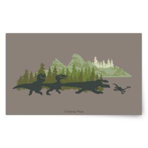 Dino Silhouettes Running Rectangular Sticker