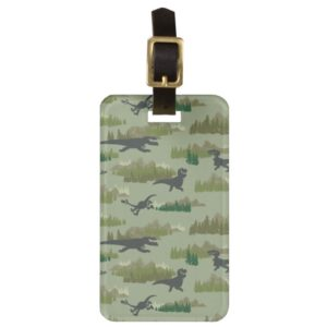Dinosaurs Running Camo Pattern Bag Tag
