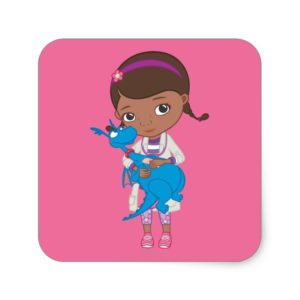 Doc McStuffins Holding  Stuffy Square Sticker