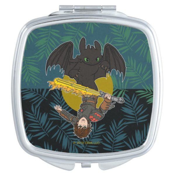 """""""Dragon Rider"""" Toothless & Hiccup Duo Graphic Compact Mirror"""