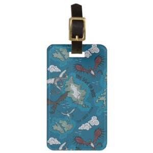Dragons Flying Over Map Pattern Bag Tag