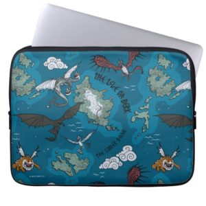 Dragons Flying Over Map Pattern Computer Sleeve