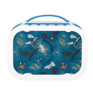 Dragons Flying Over Map Pattern Lunch Box