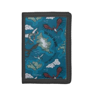 Dragons Flying Over Map Pattern Trifold Wallet