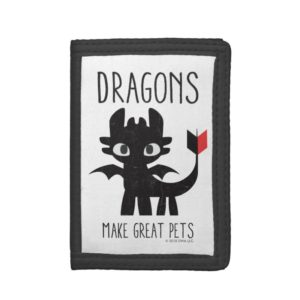 """""""Dragons Make Great Pets"""" Toothless Graphic Trifold Wallet"""