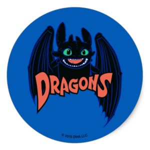 """Dragons"" Toothless Wings Graphic Classic Round Sticker"